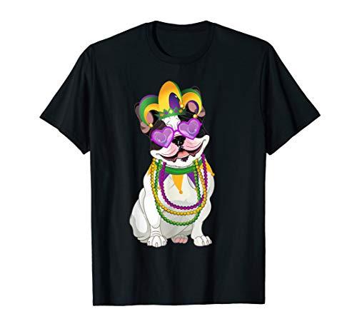 Beads & Mask Mardi Gras French Bulldog Gift T-Shirt