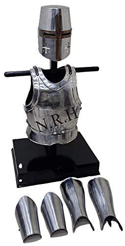Réplica náutica Hub Medieval Protector de Brazos y piernas, Casco de Caballero templario, Chaqueta de Pecho, Disfraz Larp
