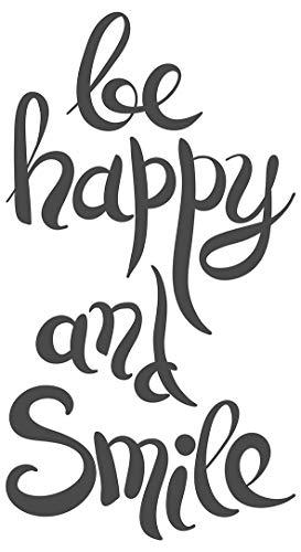 dekodino® Wandtattoo Spruch Motto Be happy and smile Wandsticker Dekoration