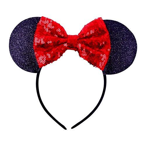 Cerchietto topolina - minnie - Bambina - orecchie - Carnevale - paillettes - brillantini - adulti - Bambina - Donna - ragazza - nero e rosso - idea regalo originale natale compleanno