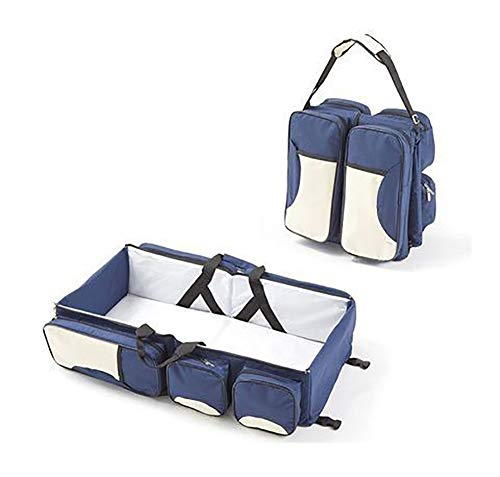 YFASD Reisebett Für Neugeborene 3 In1-wickeltasche Mummy Tasche Multifunktional Faltbar Stubenwagen Mit Walze 300d Oxford Tc Baumwollpolsterung Hochwertige Seide,Blue