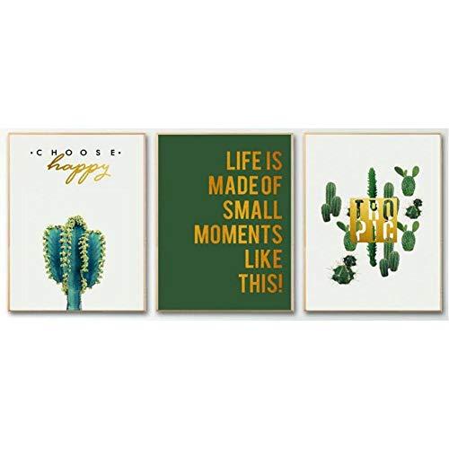 TBWPTS Canvas Schilderij Nordic minimalisme posters prints groene muur canvas schilderij cactussen bloemen kunst foto's woonkamer decor