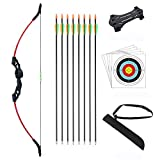 DOSTYLE Outdoor Youth Recurve Bow and Arrow Set with Quiver Children Junior Archery Beginner Longbow Training for Teen Teams Game Gift (Red)