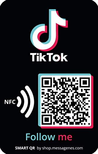 1 pegatina 'Sígueme' en TIKTOK   Gana seguidores en 1 clic   Enlace directo a tu perfil con QR o NFC   Para pegar en portátil, tablet, funda móvil  