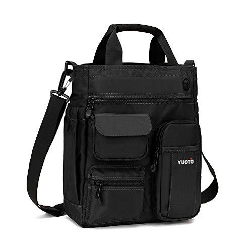 YUOTO Messenger Bag Multiple Pocket Travel Work College Shoulder Bag fit Ipad Pro Laptop 14 inch black