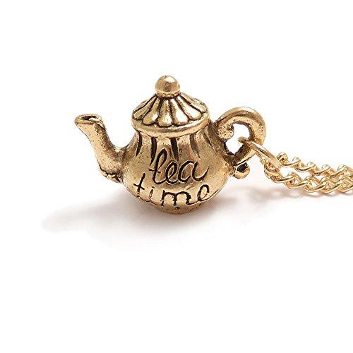 LunarraStar Damen Alice im Wunderland Tea Time Teekanne Anhänger Charm-Halskette