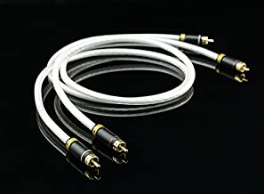 MPS M-4 2 RCA Plug to 2 RCA Plug Audio Cable 0.75M (2.5 Feet), 6N OFC Hi Fi 99.99997%, 5U Gold Plated Connectors Subwoofer Cable for Audiophile, 2 Pcs