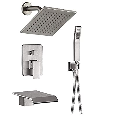 Shower System Luxury bathroom Shower Faucet Fixtures, Wall Mount Rain Mixer Shower Combo With Waterfall Tub Spout Bathtub Faucet and Rain Shower Head (8 inches Rain Shower Head(Brushed Nickel))