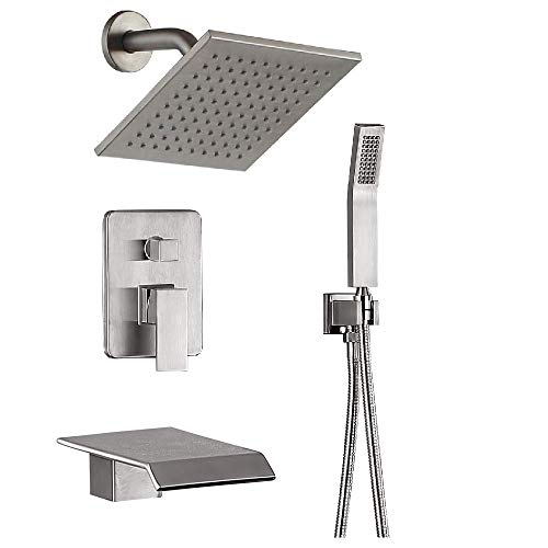 JOYWELL Shower System Luxury bathroom Shower Faucet Fixtures, Wall Mount Rain Mixer Shower Combo With Waterfall Tub Spout Bathtub Faucet and 8 inch Rain Shower Head