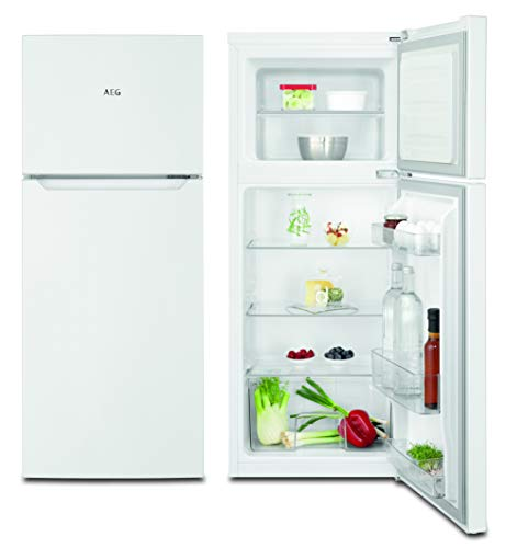 AEG RDB414F1AW Freistehender Doppeltür - Kühlautomat / 1180mm / Energieklasse F / Gefrierteil oben / 119L / Farbe: Weiߟ