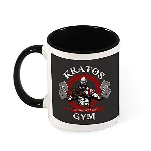 N\A Kratos Gym Training Like A God of War Taza de café de cerámica Taza de té, Regalo para Mujeres, niñas, Esposa, mamá, Abuela, 11 oz