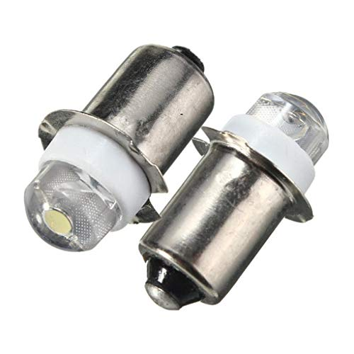 Lot de 2 ampoules LED P13.5S 0,5 W 100 lm pour lampe torche de travail DC 6 V Blanc pur