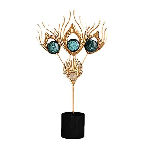 Ocobetom Adornos de metal, plumas decorativas, figuras decorativas doradas, de metal, moderna,...