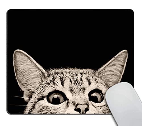 Lustiges Katzen-Mauspad, Die Katze hält eine Tasse schwarzen Kaffee und ein Baguette mit Galaxie-Design angepasste rechteckige rutschfeste Gummi-Mauspad-Gaming-Mauspad