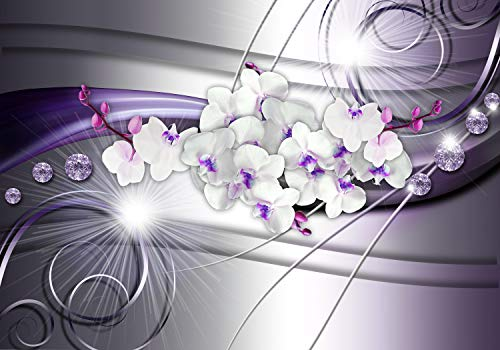 wandmotiv24 Fototapete Orchidee Diamanten Lila XS 150 x 105cm - 3 Teile Fototapeten, Wandbild, Motivtapeten, Vlies-Tapeten Abstrakt, Welle, Weiß M1666
