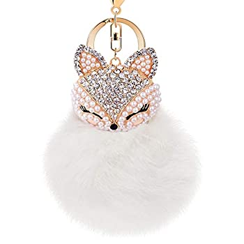 Boseen Genuine Rabbit Fur Ball Pom Pom Keychain with A fashion Alloy Fox Head Studded with Synthetic Diamonds Rhinestone  for Womens Bag Cellphone Car Charm Pendant Decoration White style 3