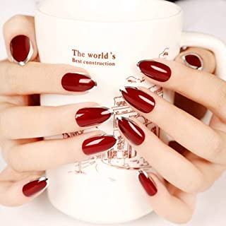 YUNAI Burgundy/Deep Red with Silver Fake Nail Tips Full Cover Stiletto Fales Nails