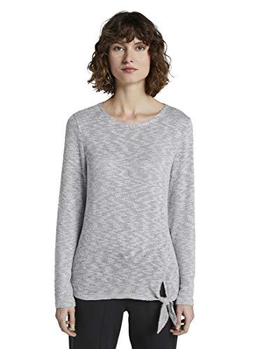 TOM TAILOR Damen T-Shirts/Tops T-Shirt mit Knotendetail Silver Grey Melange,L