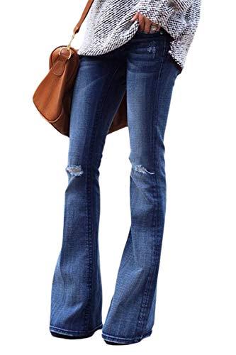 Suvimuga Mujer Vaqueros Acampanados Pantalones Largos Elástico Cintura Alta Retro Flared Jeans R S