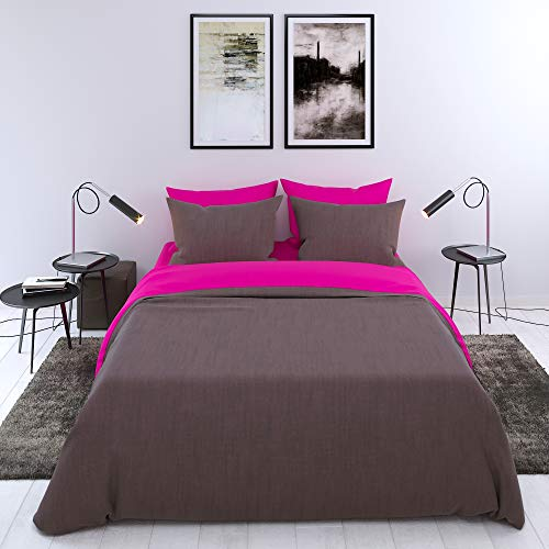Bettwäsche-Set 2 Personen, 3-teilig, Zweifarbig (Pflaumerot-Elefantengrau), Erwachsene - Deckenbezug (200x200 cm) und 2 Kissenbezüge...