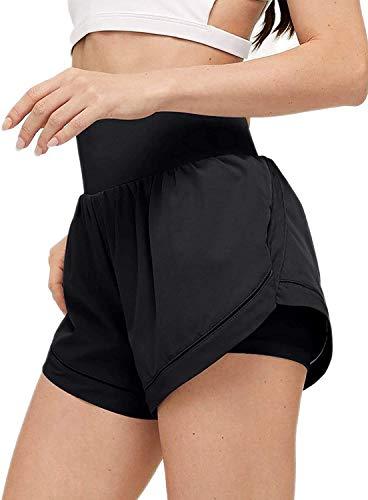 Missjoy - Pantalones cortos de yoga de secado rápido para mujer, 2 en 1, Negro , M