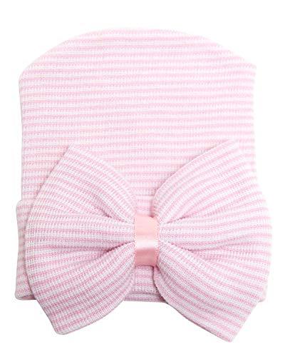 Song Qing Bowknot Stripe Newborn Baby Girls Infant Toddler Hospital Beanie Hat Cap
