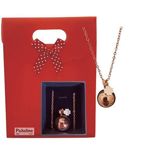 PICHOLINO - Bola de Grossesse | Pendentif avec une mélodie unique | Coffret cadeau original pour femme enceinte | Collier plaque or rose avec chaine et carillon| Chaine avec sautoir ajustable (114 cm)