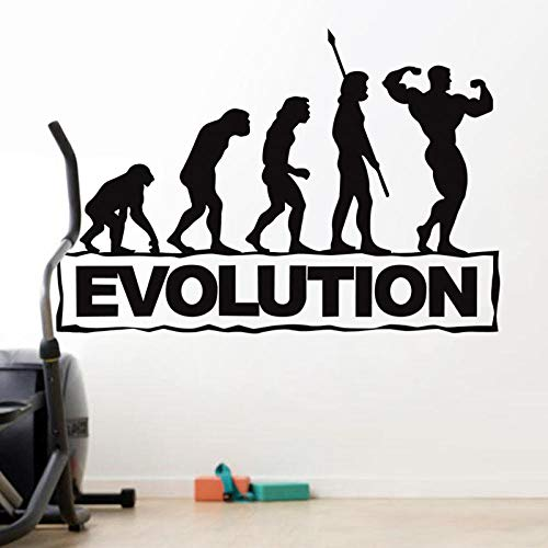 Evolution Fitness Decal Gym Sticker Body-Building Posters Vinyl Wall Decals Mural Fitness Crossfit Decal Muscle Gym Sticker-Negro_Los 40X58Cm