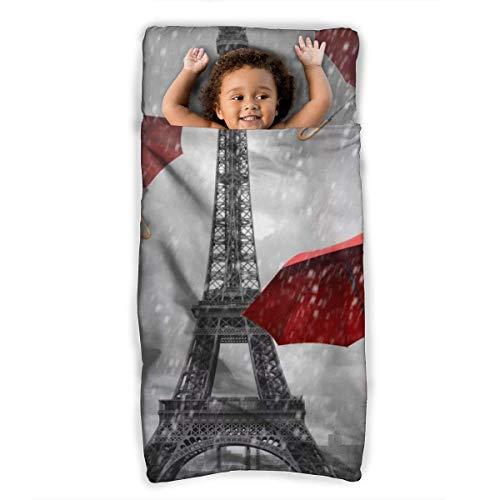 Paris Eiffeltoren en rode paraplu kinderen/peuter Nap Mat met kussen - Draaggreep met riemsluiting, Rollup Design, zachte microvezel slaapzak voor kleuterschool, Dagopvang