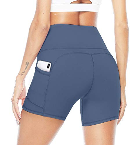 JOYSPELS Kurze Radlerhose Sporthose Damen Kurz Leggings, Blickdicht Taschen High Waist Yoga Shorts für Sommer Sport Training Gym Fitness, Blau, XL