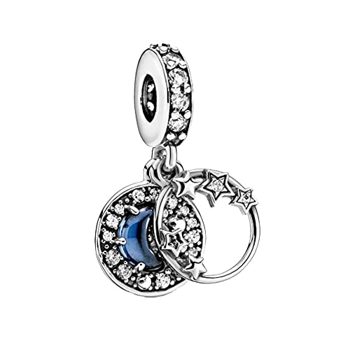 Pandora 925 Colgante de plata esterlina Diy Nueva Cuentas Cielo Azul Noche Media Luna Estrellas Charm Fit Original Pandora Pulsera Joyería de Navidad