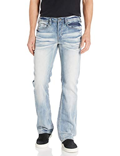 Buffalo David Bitton Men's King Slim Fit Bootcut Jean, Heavy Sandblasted, 34x32