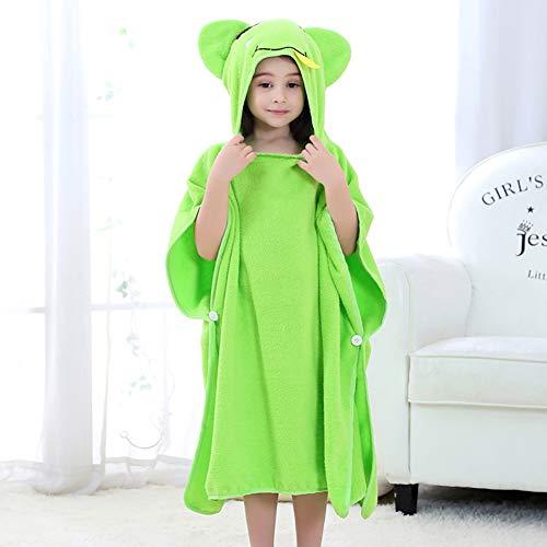 LRQY Super Doux Très Grande Serviette à Capuchon Coton Chaud Ultra-absorbante Hypoallergénique Peignoirs,pour Bébé des Gamins Bébé Une Baignoire Plage Nager,70x140cm (28x55inch),Green