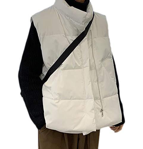 Jackets sin Mangas cálidos de algodón Masculino Masculino Outwear Waistcoat Chaleco de Hombre Fashion Casual Abrigos (Color : White, Size : 4XL)