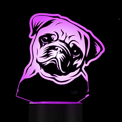 3D Sharpei French Bulldog Night Light Led Touch Switch Decor Table Desk Optical Illusion Lamps 7 Color Changing Lights LED Table Lamp Xmas Home Love Birthday Children Kids Decor Toy Gift