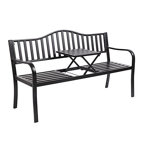 3 Sitzer Sitzbänke, Gusseiserne Couchtische, Rostfrei Gestrichen, Gartenbänke mit Anhebenden Couchtischen (59,06 x 23,62 x 31,5) Zoll