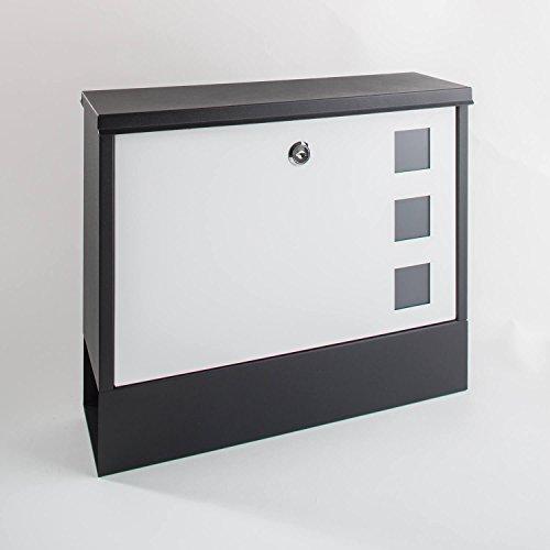 Brievenbus roestvrij staal - gepoedercoat zwart/wit - weerbestendig - incl. sleutel & bevestigingsmateriaal - wandmontage