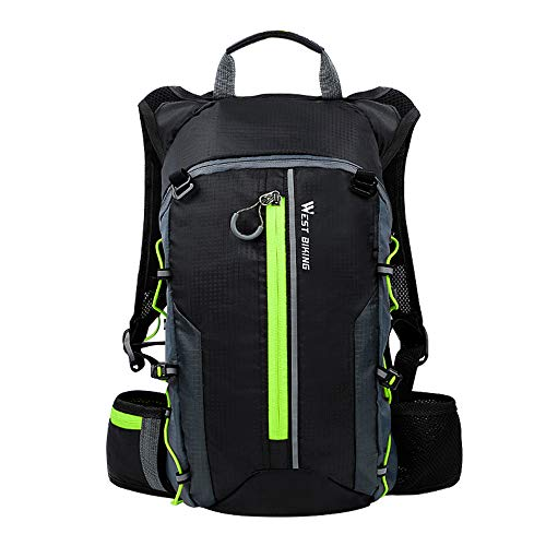 Mochila ligera para bicicleta, 10 L, transpirable, impermeable, para correr, unisex, para ciclismo, senderismo, camping (verde)