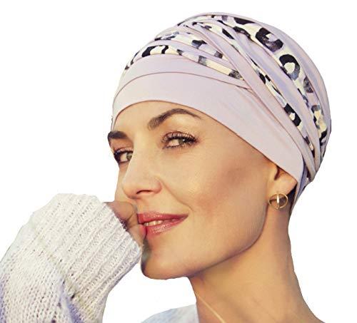 Turbante Shanti con bambú Estampado Primavera-Verano para Mujeres con Alopecia (Lavanda con Estampado Animal)