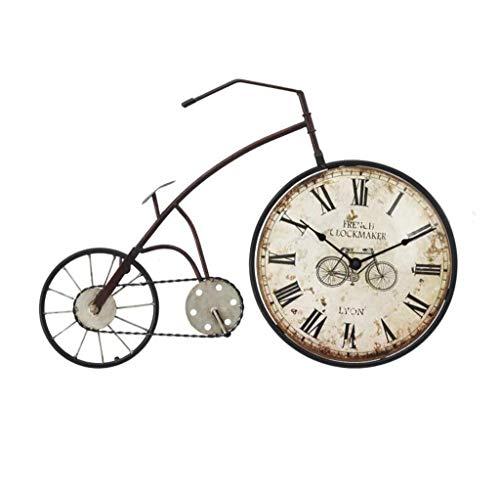 YFF Wandklok Vintage Retro Wandklok Stille Wandklok Bike Nostalgia Voor het decoreren van industrieel stijl cafés zonder tweedehands wanddecoraties