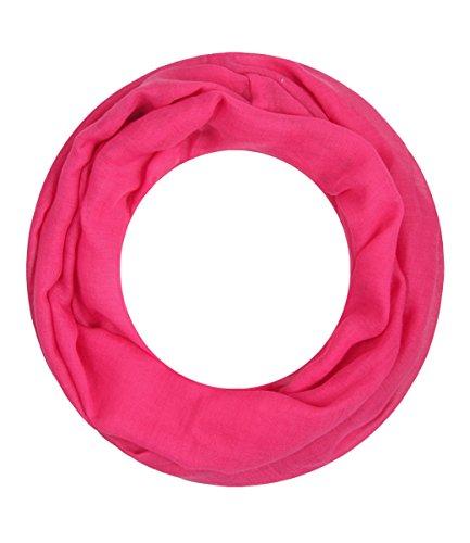 Majea Loop Alice schmaler Damen-Schal Loop Frühlingsschal Schlauchschal Rundschal Tuch uni unisex unifarben einfarbig Halstuch (pink)