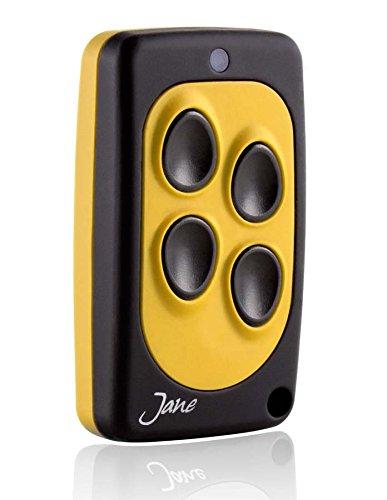 Telecomando universale Jane Q quarzato 30,875 Mhz, 5 colori disponibili, radiocomando 4 canali, compatibile con tutti i telecomando della stessa frequenza a codice fisso. (nero giallo)