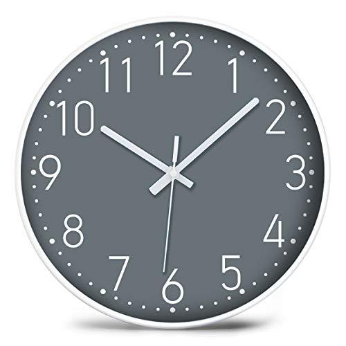 Graue Wanduhr,30cm Modern Quartz Lautlos Wanduhr Schleichende Sekunde ohne Ticken (Grau 12 Zoll)