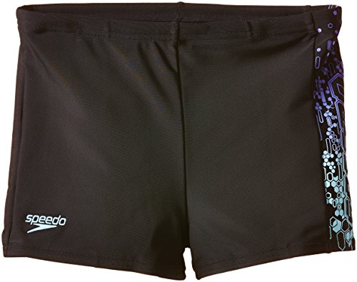 Speedo Jungen Badehose Logo Panel Aquashorts, Black/Chill Blue/Violet, 128, 8-093129705