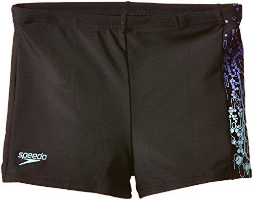 Speedo Jungen Badehose Logo Panel Aquashorts, Black/Chill Blue/Violet, 128, 8-093129705