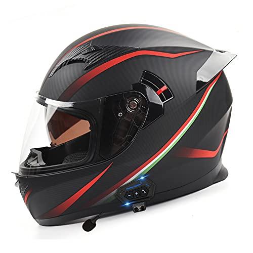 Casco Modular de Motocicleta de Cara Completa Dot/ECE Moto Ciclomotor Street Bike Racing ABS Casco Doble Visera Bluetooth Espacio con Cola para Adultos Jóvenes Unisex (56~60CM)