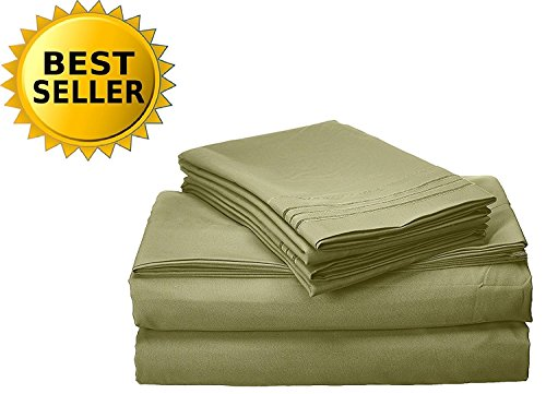 Elegant Comfort Bedding Collection 4-Piece Bed Sheet Set 1500 Thread Count Egyptian Quality Wrinkle Free Hypoallergenic with Deep Pockets, Queen, Sage-Green