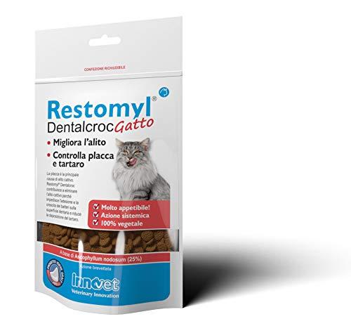 Innovet Restomyl Dentalcroc, Migliora l'alito. Controlla placca e tartaro dei gatti - Confezione con busta da 60 g