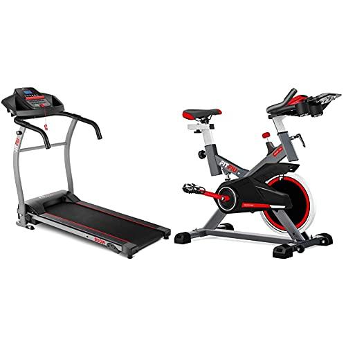 Fitfiu Fitness MC-100 Cinta de Correr Plegable con Velocidad Ajustable hasta 10 km/h + BESP-100 Bicicleta Indoor con Disco de inercia de 16 kg y Resistencia Regulable