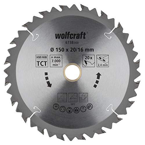 Wolfcraft 6738000 6738000-1 Hoja de Sierra Circular HM, 20 dient, Serie marrón diam. 150 x 16 x 2,4 mm, 150x16x2.4mm